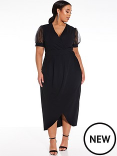 quiz-curve-organza-puff-sleeve-wrap-dress-black