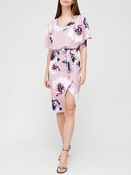 Quiz Quiz Floral Batwing Midi Dress - Mauve Picture