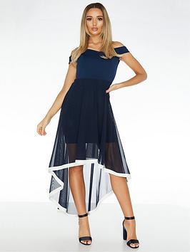 Quiz Quiz Bardot Mesh Skirt Dip Hem Dress With Contrast Hem - Navy Picture