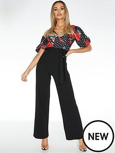 quiz-scuba-crepe-polka-dot-floral-jumpsuit-blackred