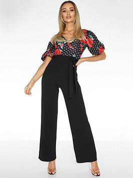 Quiz Quiz Scuba Crepe Polka Dot Floral Jumpsuit - Black/Red Picture