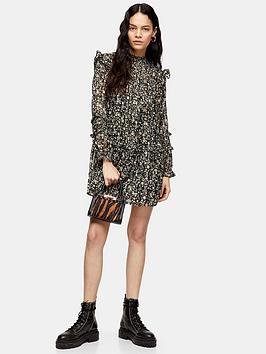 Topshop Topshop Topshop Lurex Pintuck Mini Dress - Monochrome Picture
