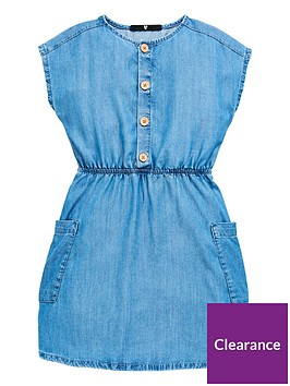v-by-very-girls-chambray-button-front-dress-denim
