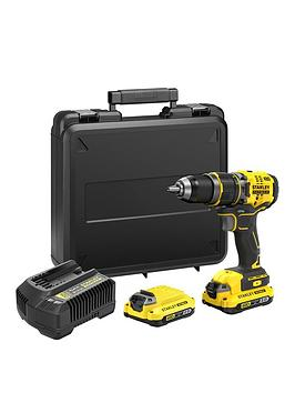 Stanley Fatmax Sfmcd721D2K-Gb V20 18V Lithium Ion Brushless Combi Hammer Drill With, 2X 2.0Ah Batteries &Amp; Kit Box