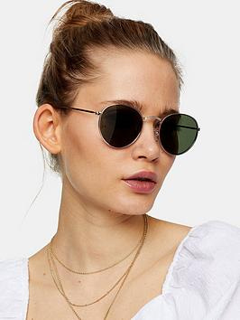 Topshop Topshop Metro Sunglasses - Gold Picture