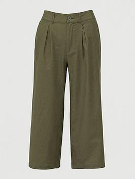 V by Very V By Very Linen Blend Wide Leg Cropped Trouser - Khaki Picture