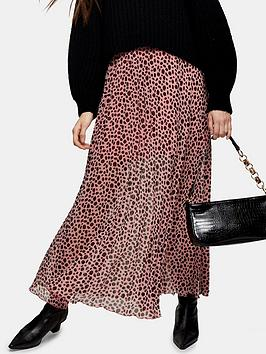 Topshop Topshop Spot Animal Print Tiered Midi Skirt - Pink Picture