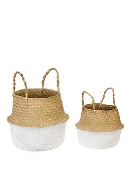 Very Set Of 2 Belly Baskets - Natural/White Picture