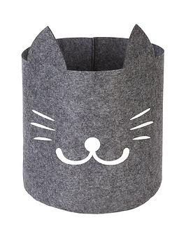 Very  Cat Face Felt Storage Bag