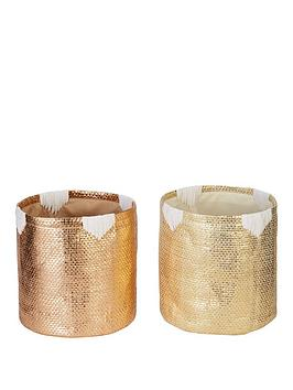 Very Set Of 2 Metallic Baskets - Gold Picture