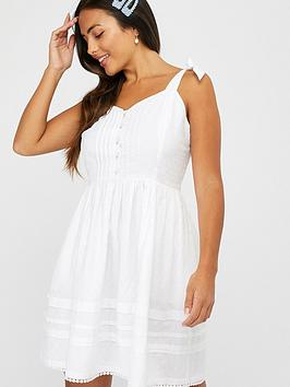 Accessorize   Button Pleat Dress - White