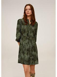 mango-snake-print-shirt-dress-green