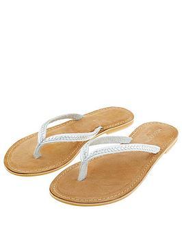 Monsoon Monsoon Parker Plait Leather Toe Post Sandal - Silver Picture