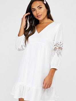 Accessorize   Organic Sleeved Lace Dress - White