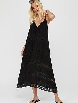 Accessorize   Lace Insert Maxi Dress - Black