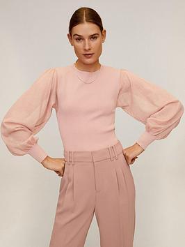 Mango Mango Sheer Puff Sleeve Top - Pink Picture
