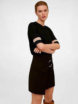 Mango Stripe Sleeve T-Shirt - Black