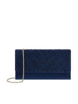 Monsoon Monsoon Hannah Heatseal Occasion Clutch Bag - Navy Picture