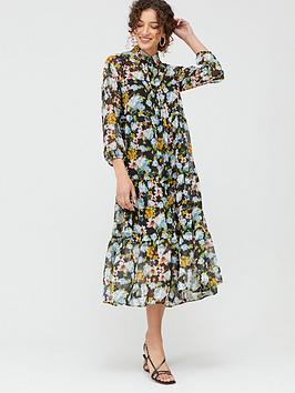 Mango Mango Watercolour Floral Midi Dress - Black Picture