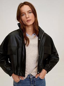 Mango Cropped Leather Jacket - Black