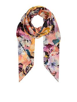 Monsoon Monsoon Marie Floral Silk Square Scarf - Pink Picture