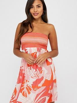Accessorize   Print Bandeau Dress - Coral