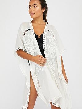 Accessorize Accessorize Sleeved Lace Long Kimono - Cream Picture