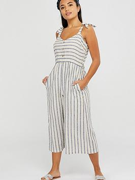 Accessorize   Woven Stripe Jumpsuit - Natural