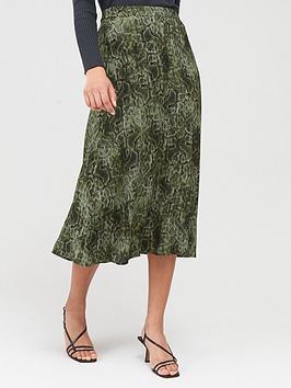 Mango Mango Snake Print Midi Skirt - Green Picture