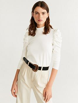 Mango Mango Ruched Sleeve Top - Natural Picture