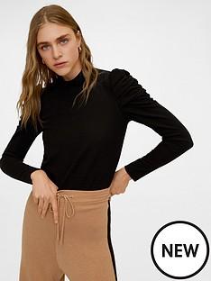 mango-ruched-sleeve-top-black