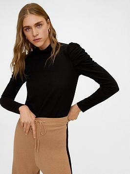 Mango Mango Ruched Sleeve Top - Black Picture