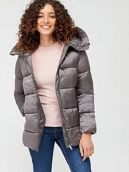 Mango Mango Zip Up Hooded Padded Coat - Silver Picture