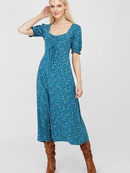 Monsoon Monsoon Dua Ditsy Print Organic Cotton Tea Dress - Teal Picture