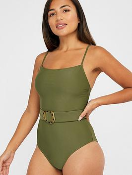 Accessorize   Belted Swimsuit - Khaki