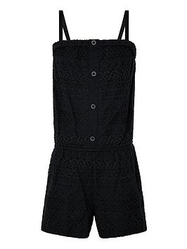 Monsoon  Girls Storm Leah Lace Playsuit - Black