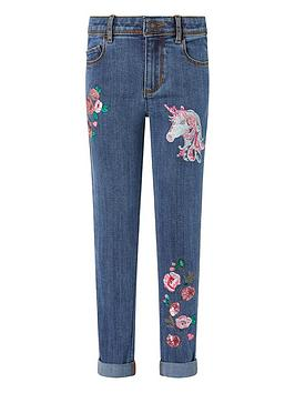 Monsoon Monsoon Girls Eliza Unicorn Jeans - Blue Picture