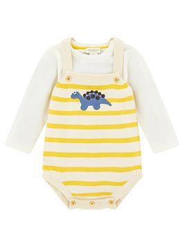 Monsoon   Baby Boys Duke Dino Knitted Romper &Amp; T-Shirt - Mustard