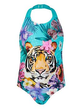 Monsoon Monsoon Girls S.E.W. Tiko Tiger Swimsuit - Green Picture