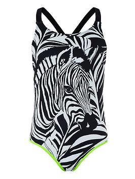 Monsoon Monsoon Girls Storm S.E.W. Zara Zebra Swimsuit - Black Picture