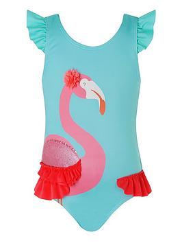 Monsoon   Baby Cora Flamingo Swimsuit - Turquoise
