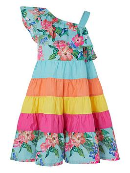 Monsoon Monsoon Fergie Flower Colour Block Dress - Turquoise Picture