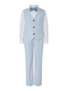 Monsoon Monsoon Boys Ollie Oxford 4-Piece Suit Set - Pale Blue Picture