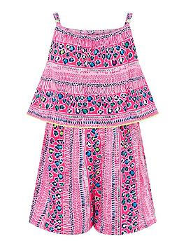 Monsoon Monsoon Girls Sustainable Ava Playsuit - Pink Picture