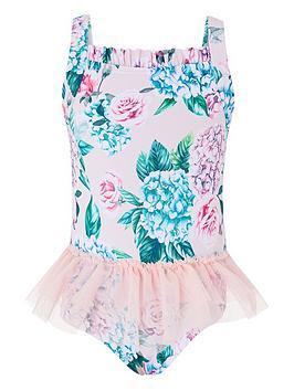 Monsoon  Baby Girls Ellie Tutu Swimsuit - Pale Pink