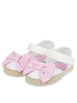 Monsoon Monsoon Baby Gingham Bow Espadrille Bootie Shoes - Ivory Picture