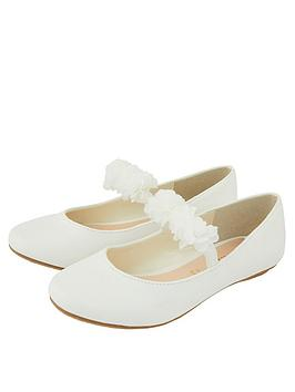 Monsoon Monsoon Girls Cynthia Corsage Shimmer Ballerina Shoes - Ivory Picture