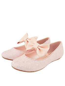 Monsoon Girls Estella Glitter Bow Ballerina - Pale Pink