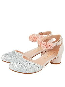 Monsoon Monsoon Becky Glitter Corsage Shoes - Pale Pink Picture