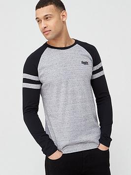 Superdry Superdry Orange Label Baseball Ringer Long Sleeve T-Shirt - Dark  ... Picture